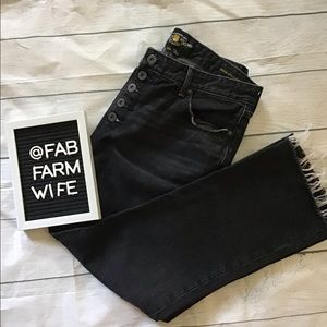 Lucky brand high waist crop flare black jeans. 10